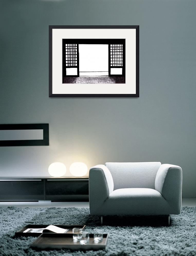"""Zen Sumi Doorway Black Ink on White Canvas&quot  (2011) by Ricardos"