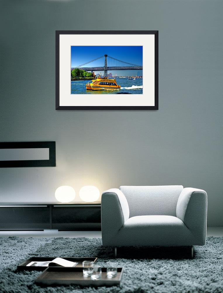 """""""New York Water Taxi & Bridge Scene&quot  by New-Yorkled"""