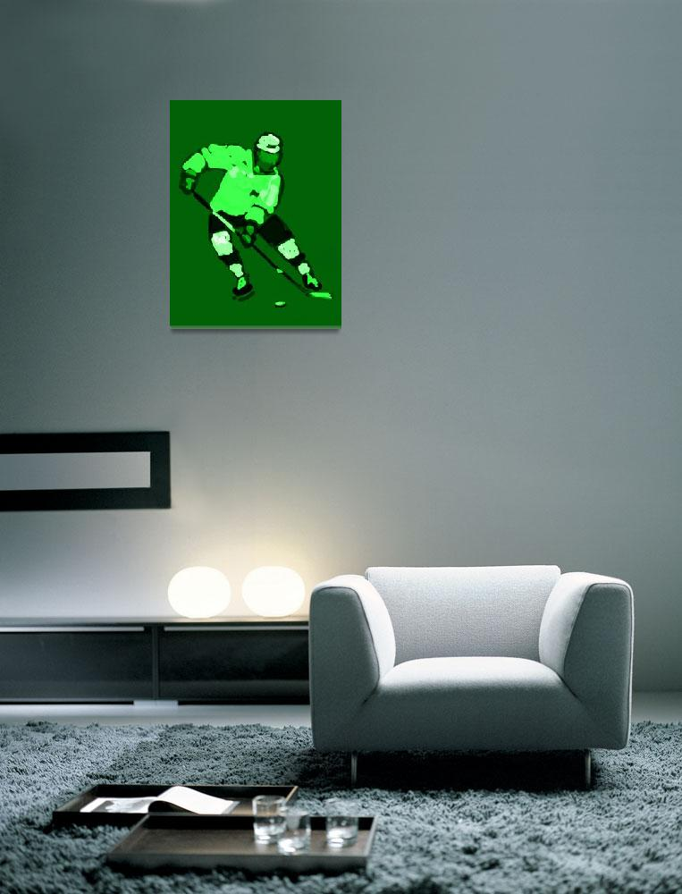 """Hockey Left Wing green black (c)""  (2014) by edmarion"