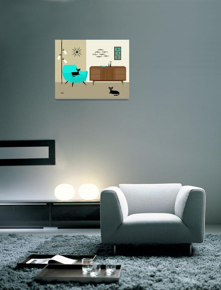 """Fish Wall Art with Aqua Chair""  (2014) by DMibus"
