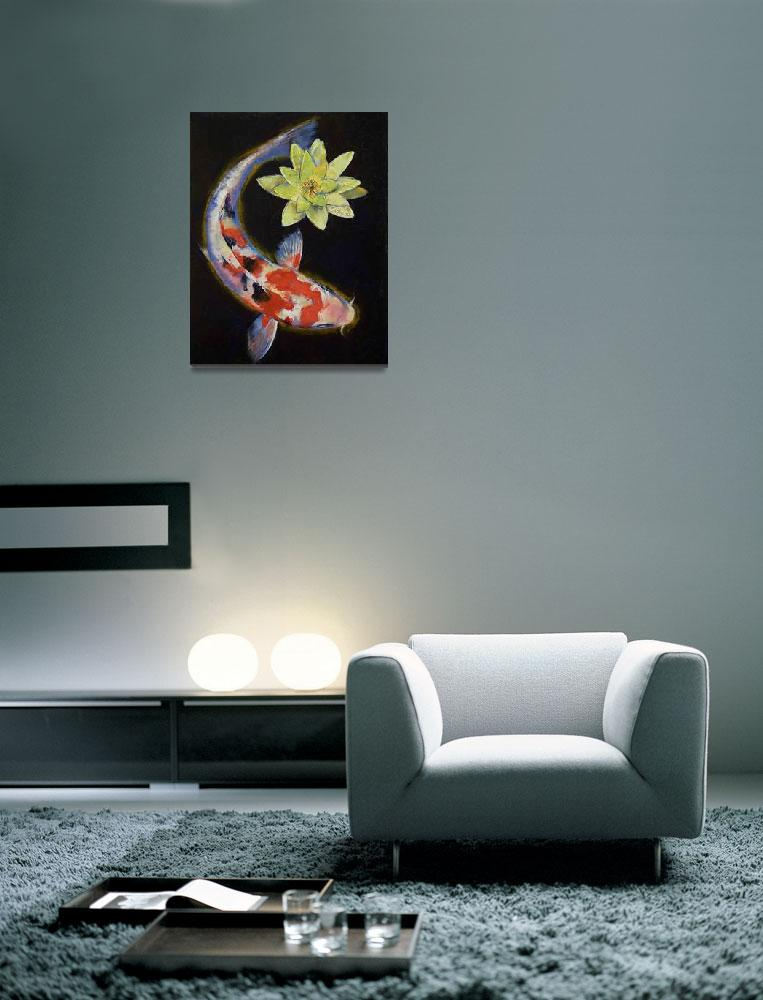 """""""Koi with Yellow Water Lily&quot  by creese"""
