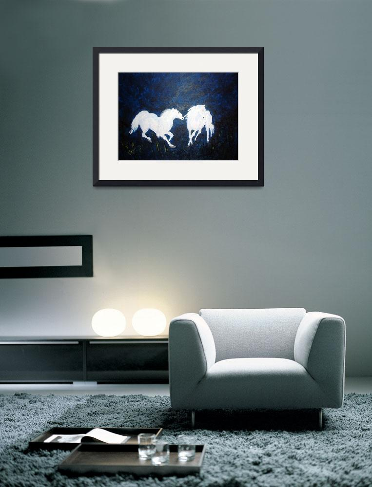 """2 white horses&quot  (2009) by arlene72"