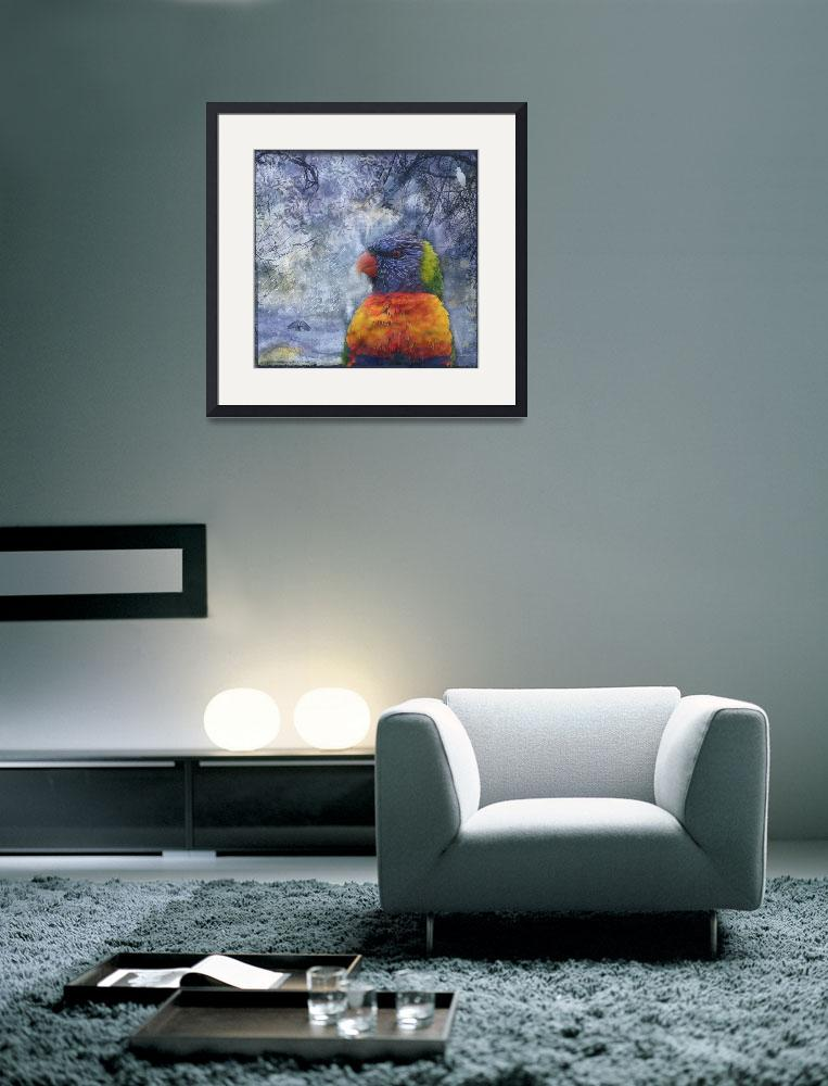 """Rainbow Lorikeet and Egrets&quot  (2009) by naturespaintbox"