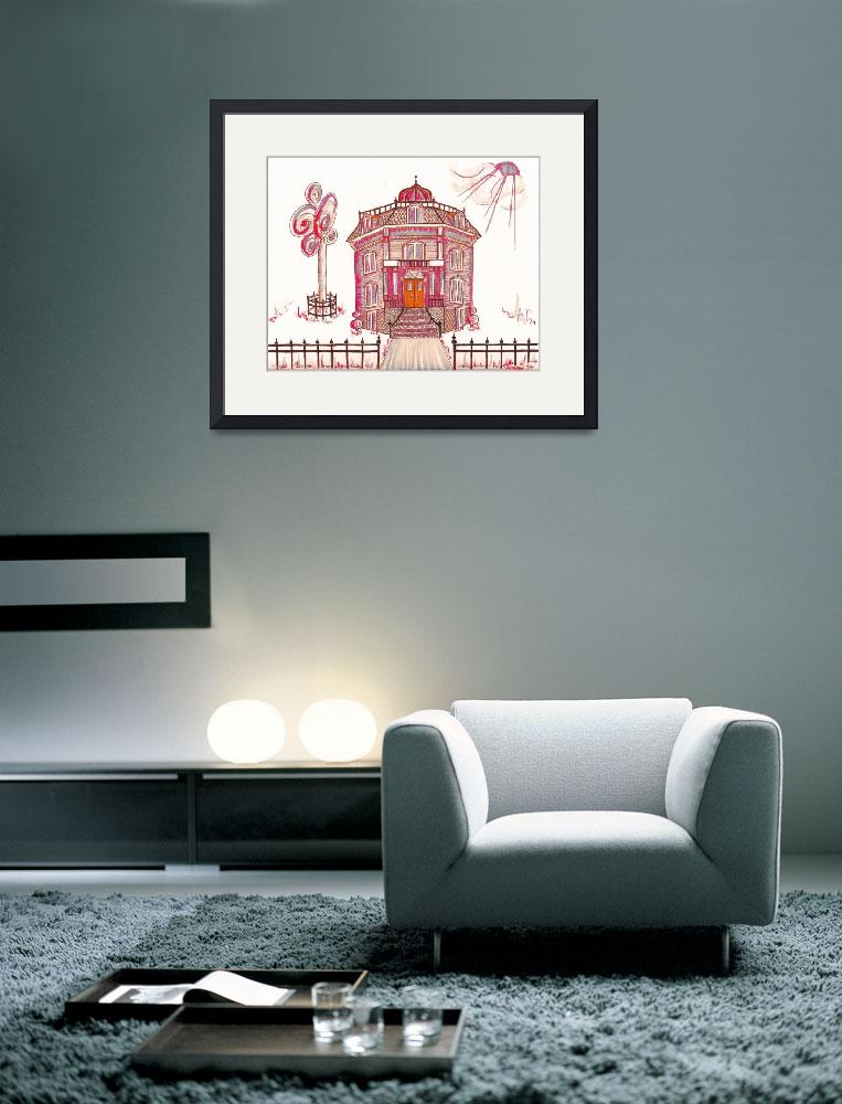 """""""Victorian House in Pink & Red&quot  (2015) by JayneSomogy"""