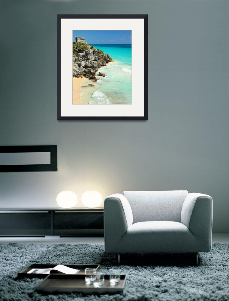 """""""Mayan Temple and Turquoise Caribbean Sea&quot  (2013) by RoupenBaker"""