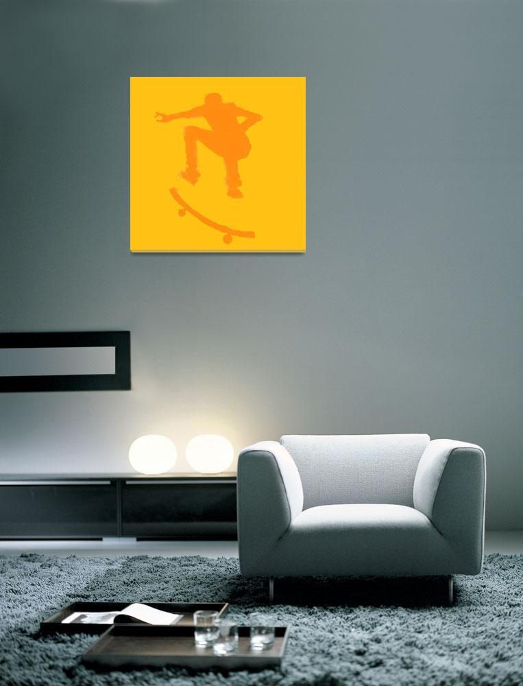 """Skateboarder 2 . orange gold (c)&quot  (2014) by edmarion"