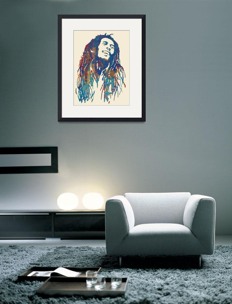 """""""Bob Marley etching pop art poster&quot  (2014) by visualharbour"""