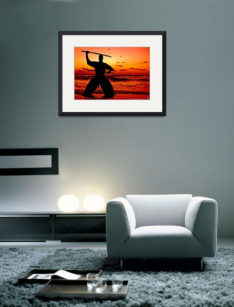 """""""Martial Arts Man Sunset Silhouette with Dual Sword&quot  (2015) by NovazziPhotoArt"""
