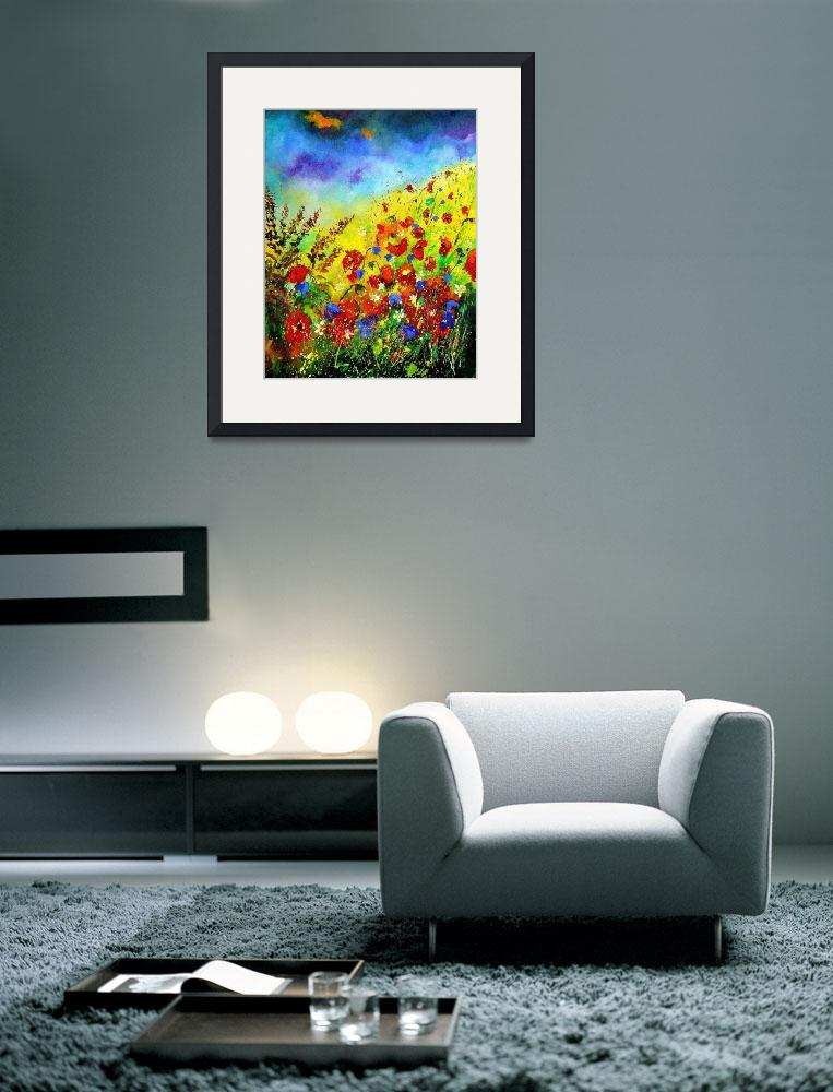 """""""Red and blue poppies and blue bells&quot  by pol"""