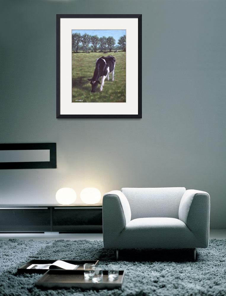 """Cow in field at Throop,UK&quot  (2011) by martindavey"