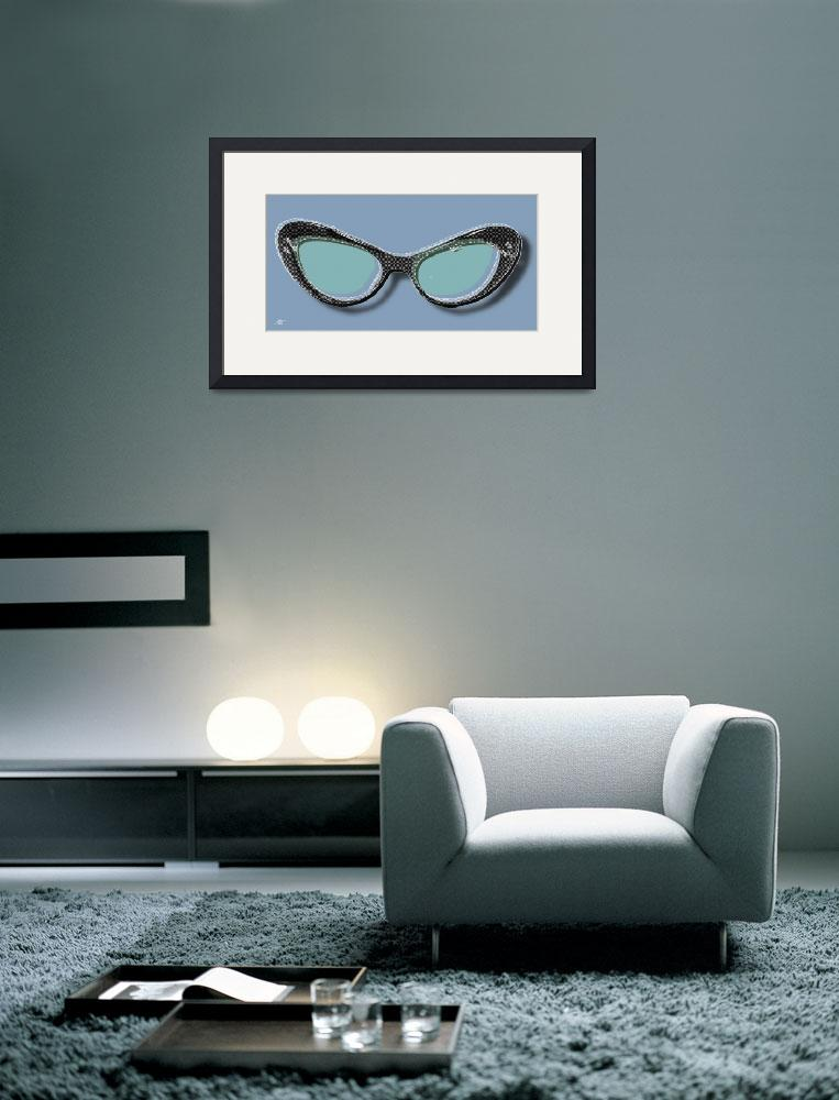 """Retro Glasses Funky Pop Blue Teal""  by RubinoFineArt"