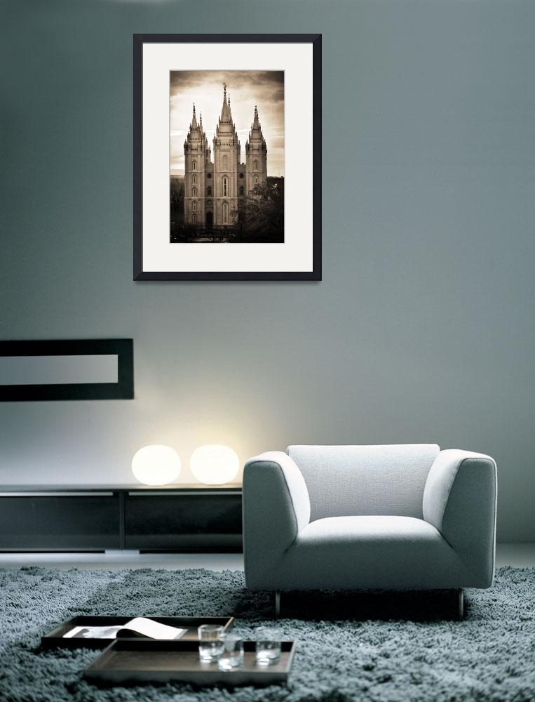 """""""salt lake temple texture cool sunset march sepia&quot  by houstonryan"""