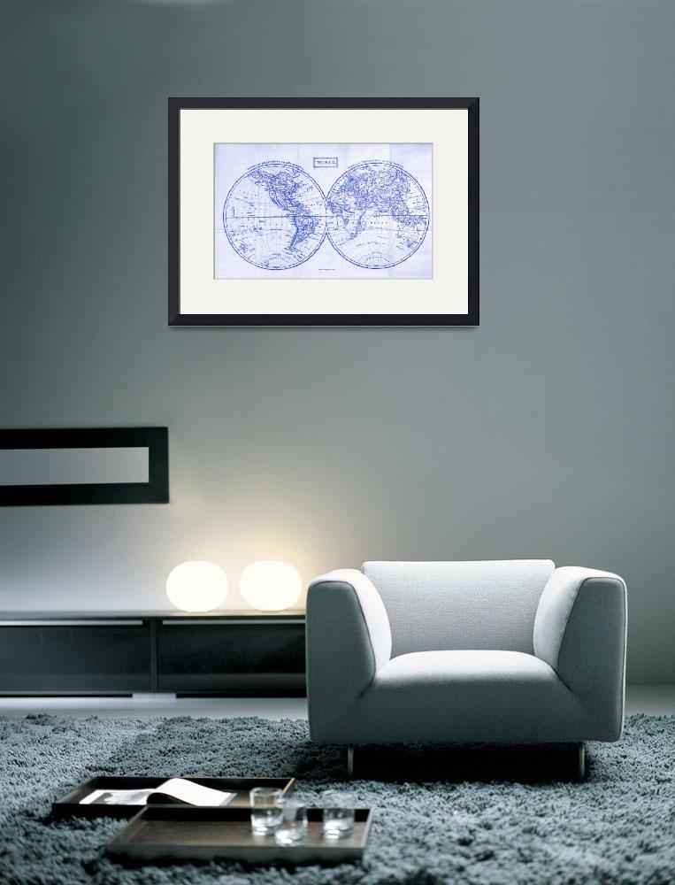 """""""Vintage Map of The World (1857)&quot  by Alleycatshirts"""