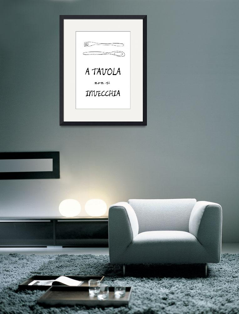 """""""Italian food quote kitchen art poster&quot  (2011) by Lebonvintage"""