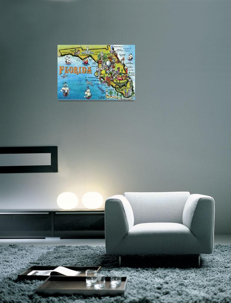 """Florida Cartoon Map&quot  by FunGraphix"