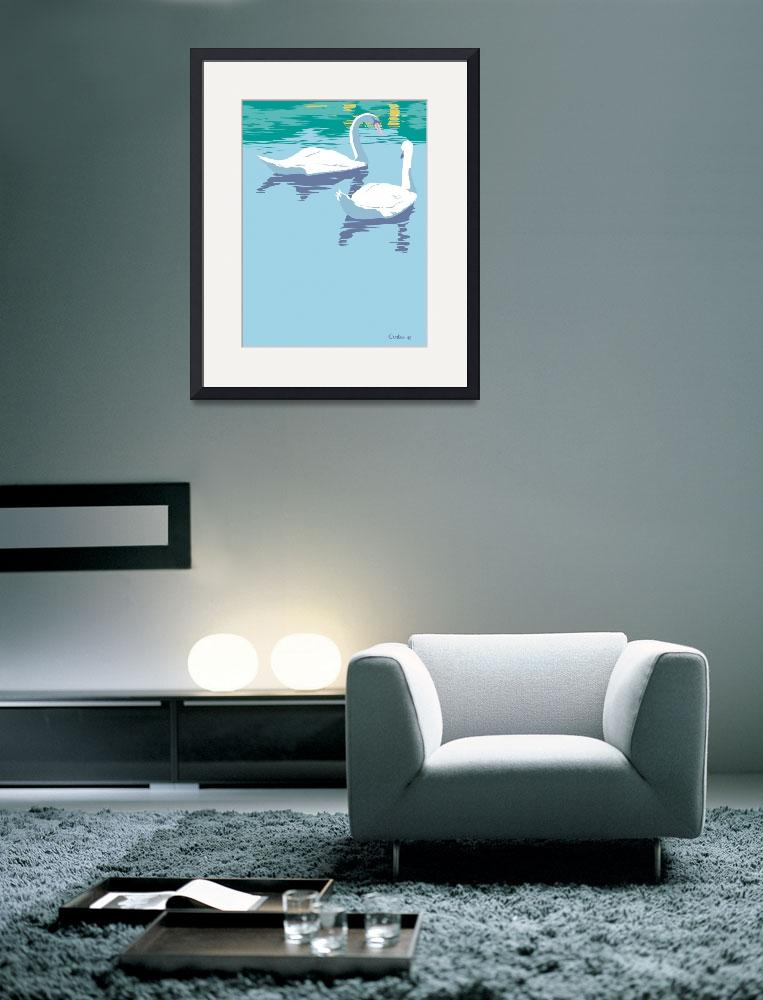 """""""Abstract Swans bird lake pop art&quot  (1985) by walt-curlee"""