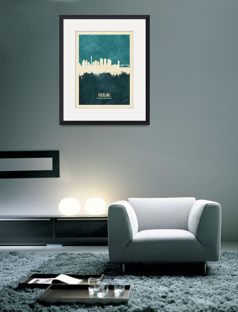 """Auckland New Zealand Skyline&quot  (2019) by ModernArtPrints"