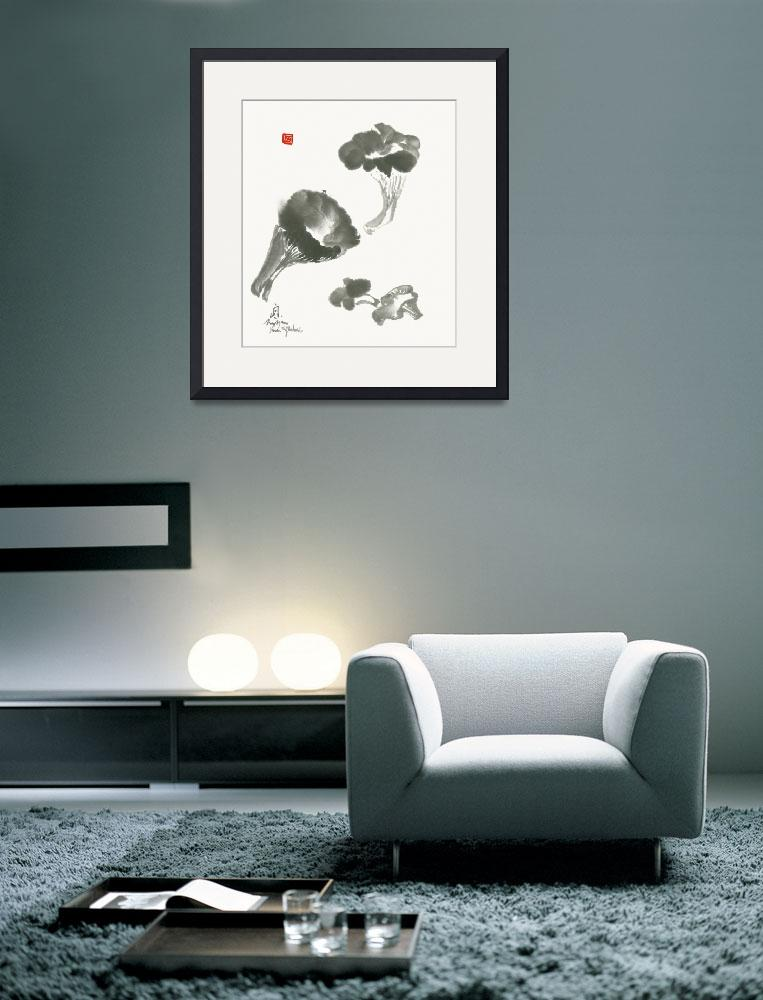"""Longevity Mushrooms In Sumi E Technique -  Print&quot  by nadjavanghelue"