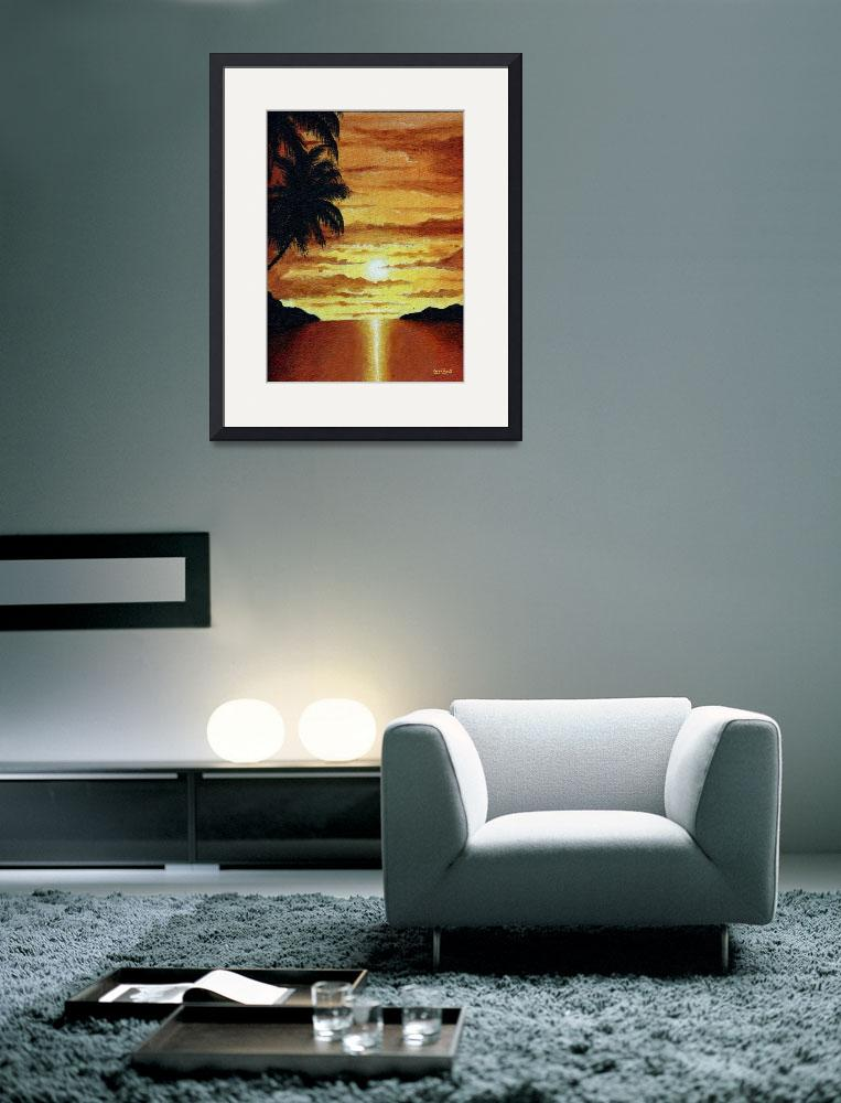 """""""Tropical Sunset&quot  (2000) by waynepascall"""