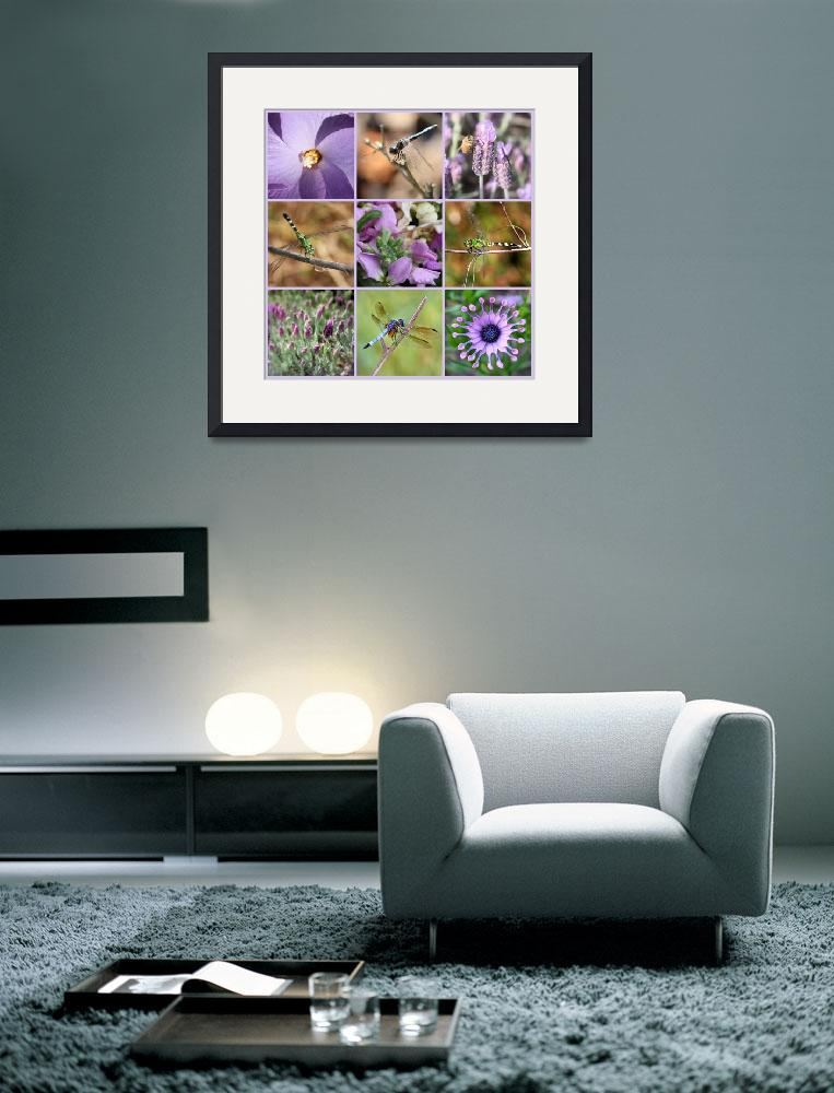 """""""Purple Flowers and Dragonflies Collage&quot  by Groecar"""
