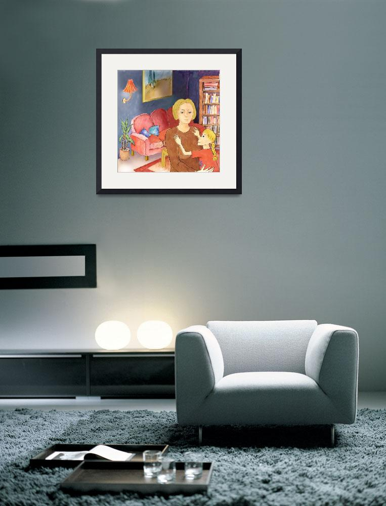 """""""Mother and Daughter,hug,home,livingroom,evening&quot  (2008) by MarianneIlevitzky"""