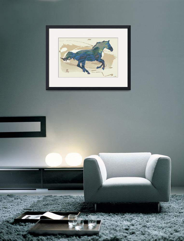 """""""Horse racing stylised painting art poster&quot  (2014) by visualharbour"""