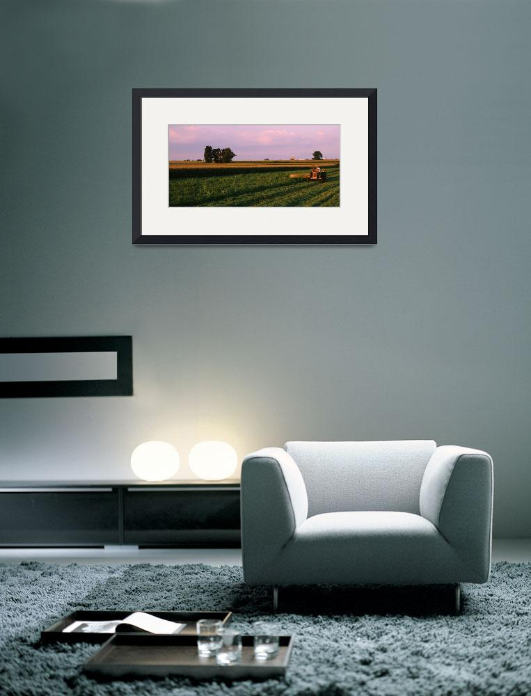 """Farmer harvesting a field""  by Panoramic_Images"