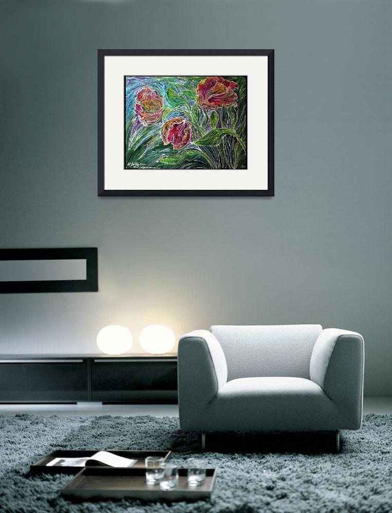 """""""PARROT TULIPS BATIK ABSTRACT&quot  (2011) by MBaldwinFineArt2006"""