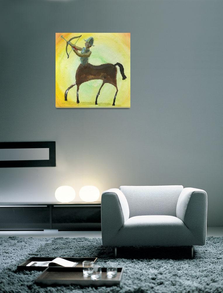 """Sagittarius Zodiac Horoscope Painting""  (2015) by rotenbergposters"