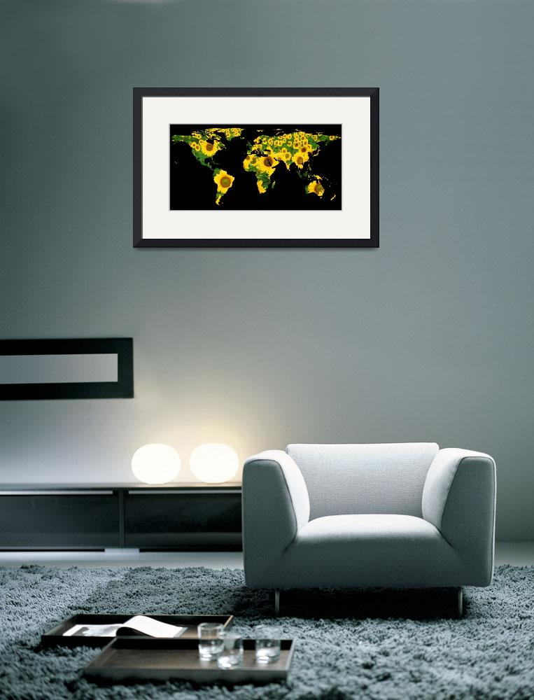 """""""World Map Silhouette - Sunflowers&quot  by Alleycatshirts"""