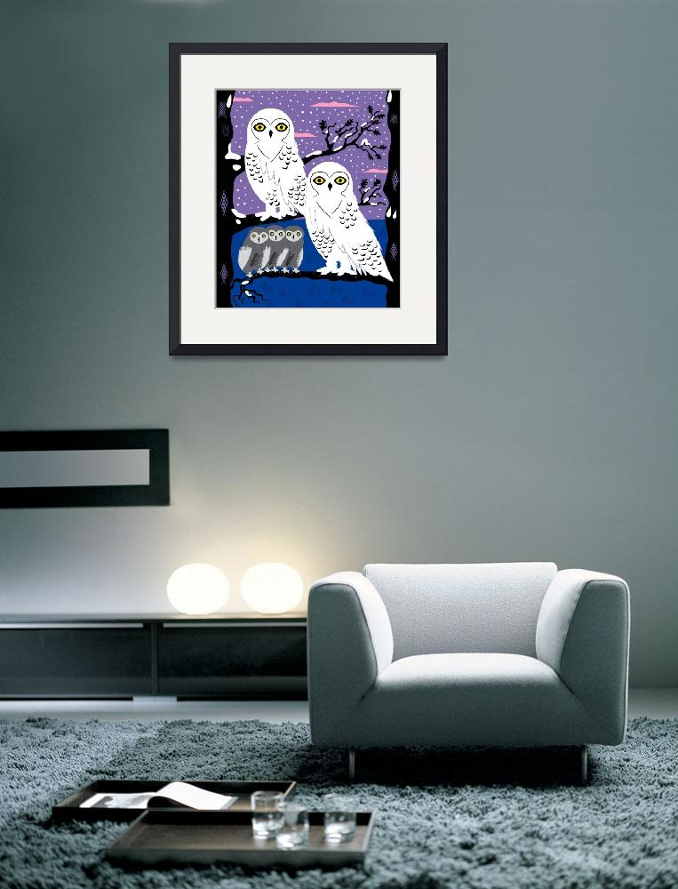 """Snowy Owls and Offspring - Limited Edition Print&quot  (2010) by iotaillustration"