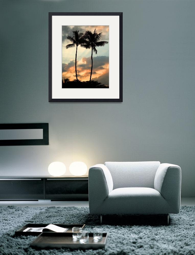 """Twin palm trees at sunset, Kauai, Hawaii&quot  by canbalci"