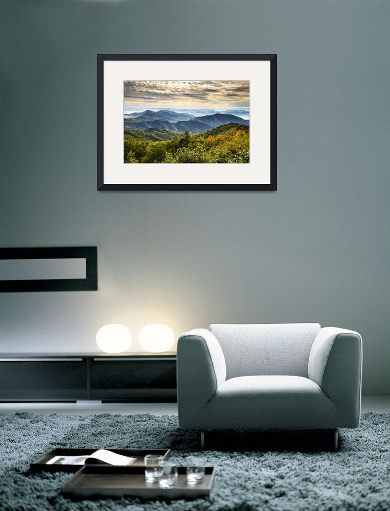 """""""Blue Ridge Parkway Sunrise - Light Lines and Leave&quot  (2012) by DAPhoto"""