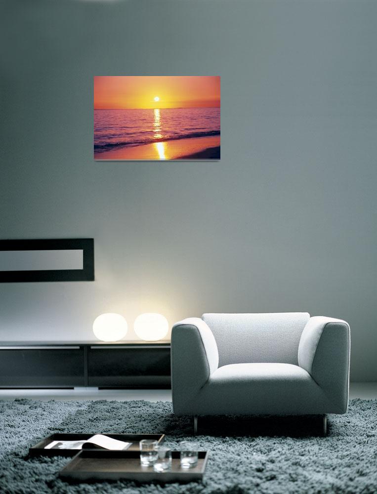 """Orange Pink Sunset Sky With Sun Ball, Reflection O""  by DesignPics"