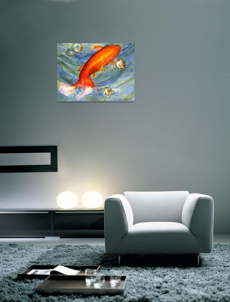 """Koi Fish in Bubbles&quot  (2005) by Lenora"