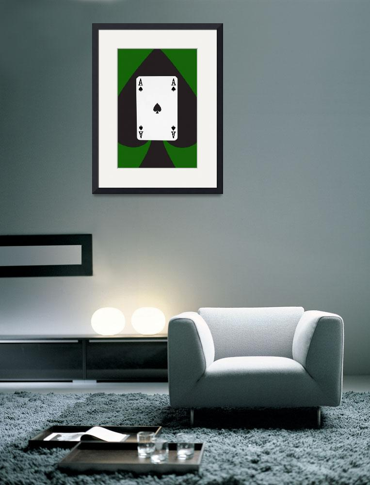 """""""Playing Cards Ace of Spades on Green Background&quot  (2012) by NatalieKinnear"""