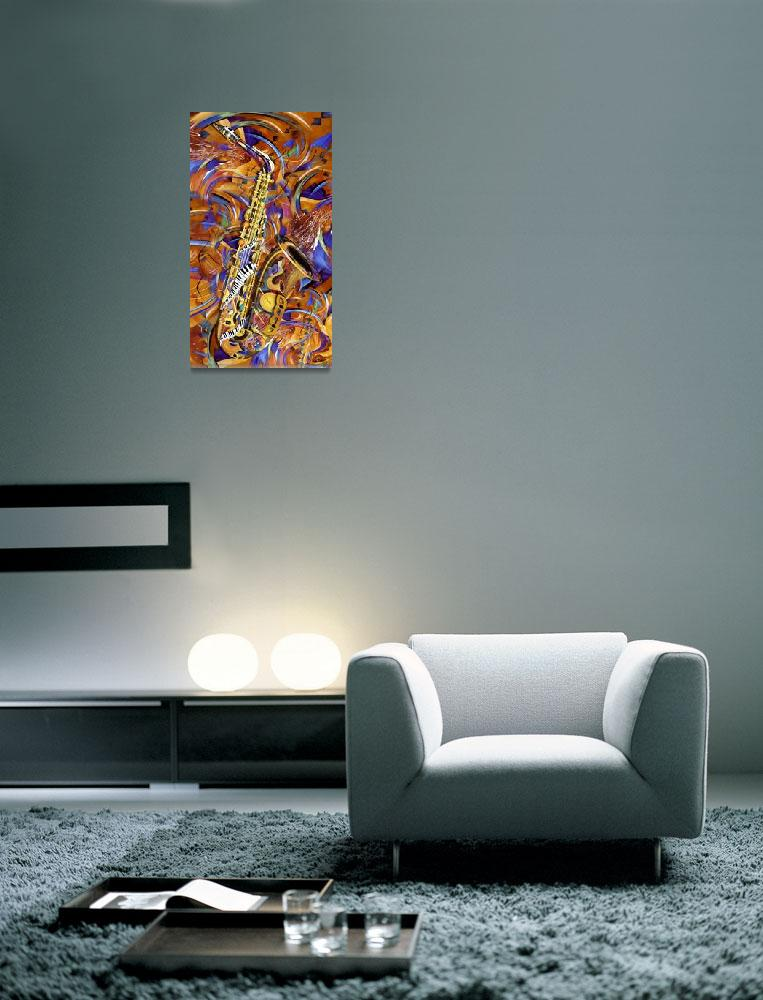 """""""A Little Sax Abstract Colorful Jazz Saxophone Prin&quot  (2012) by JuleezArt"""