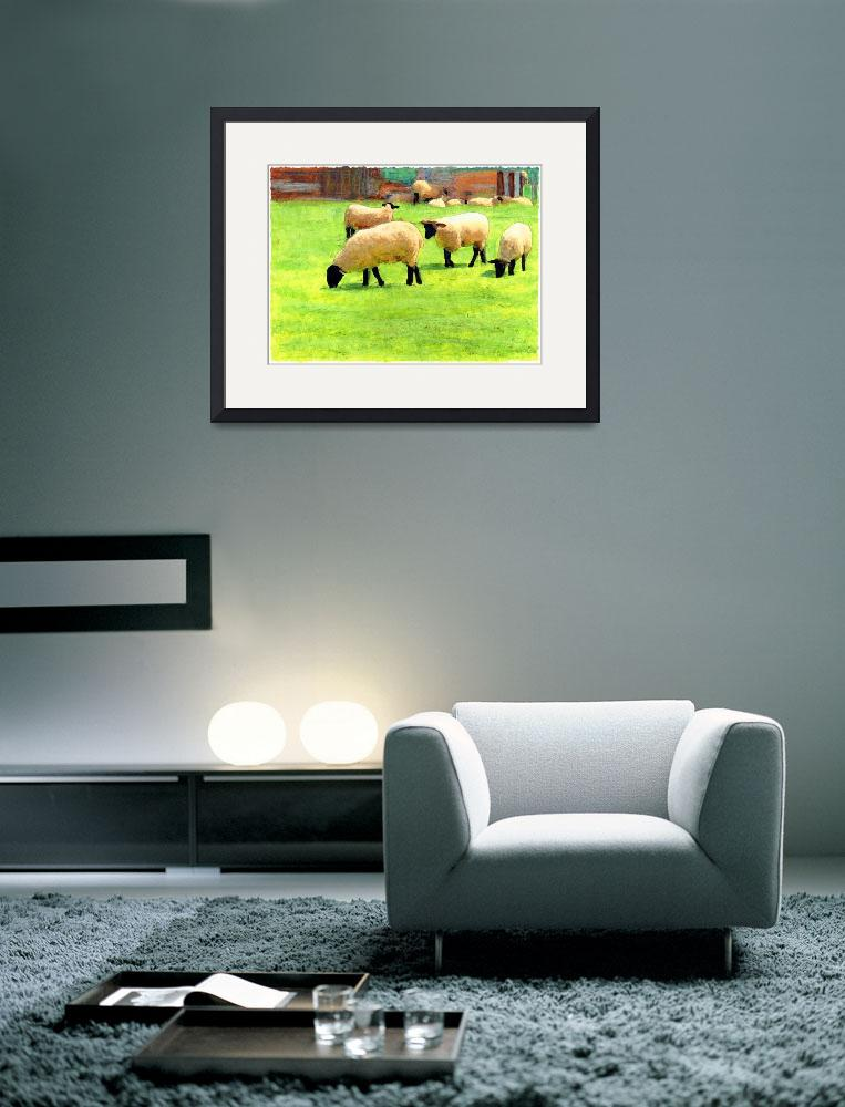 """""""White sheep on a farm in England&quot  (2006) by Linandara"""