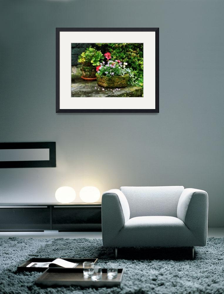 """""""Geraniums and Lavender Flowers on Stone Steps&quot  by susansartgallery"""