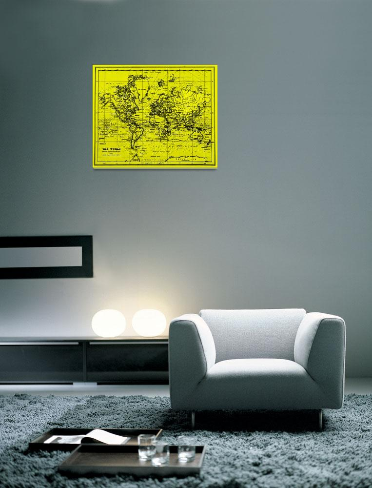 """""""World Map (1899) Yellow & Black&quot  by Alleycatshirts"""