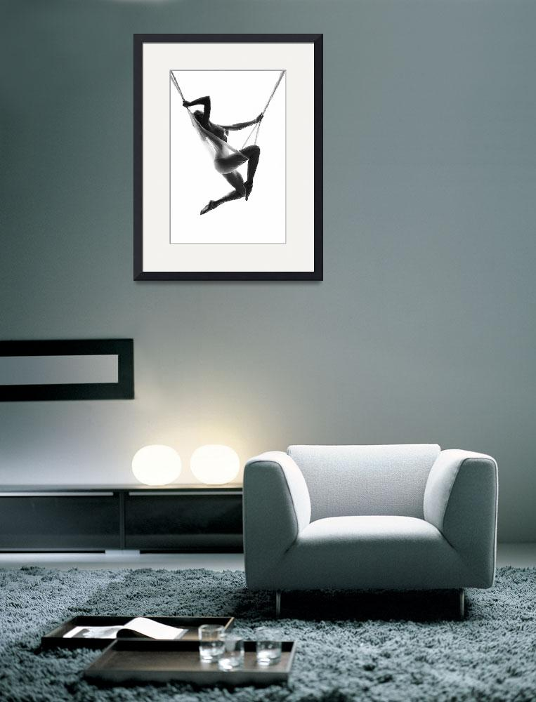 """""""Nude Woman Suspended On Silk Black On White&quot  (2018) by RubinoFineArt"""