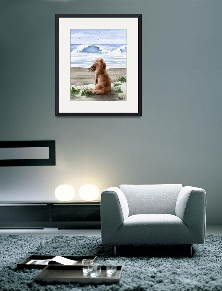 """""""Long Haired Dachshund at the Beach&quot  (2017) by k9artgallery"""
