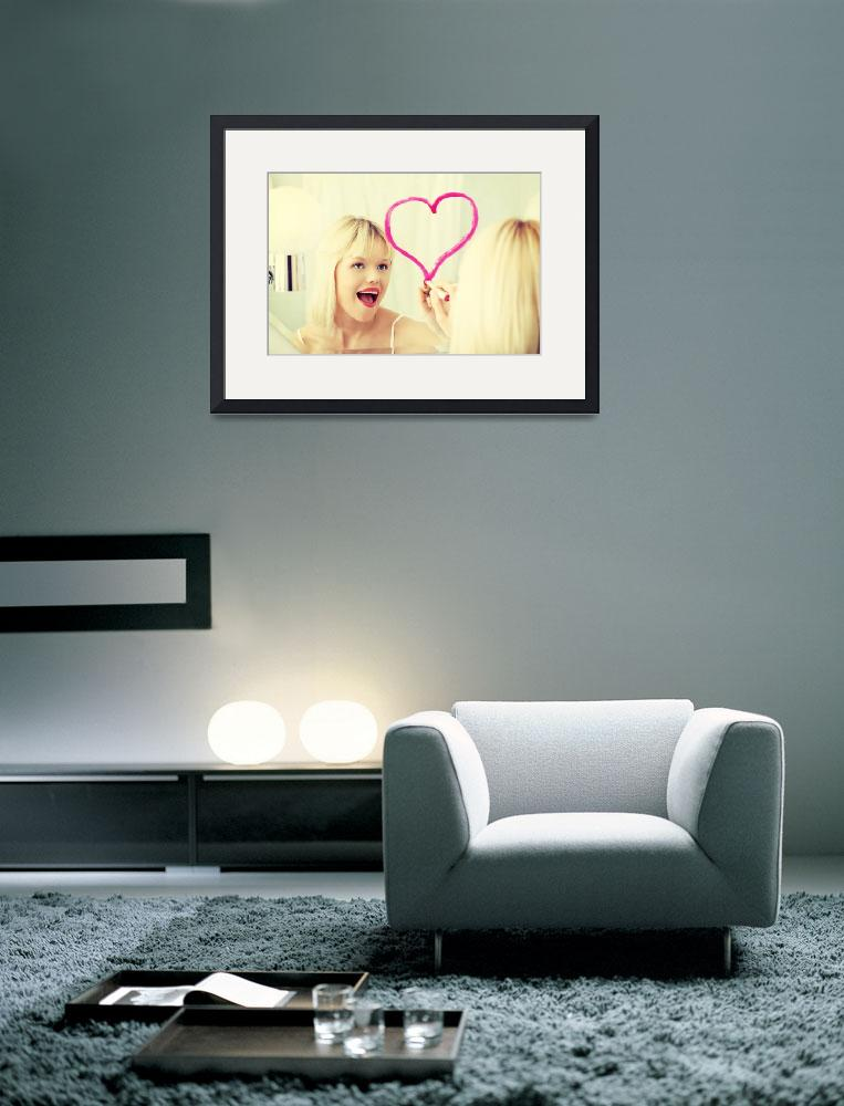 """""""Young beautiful woman drawing big heart on mirror&quot  by Piotr_Marcinski"""