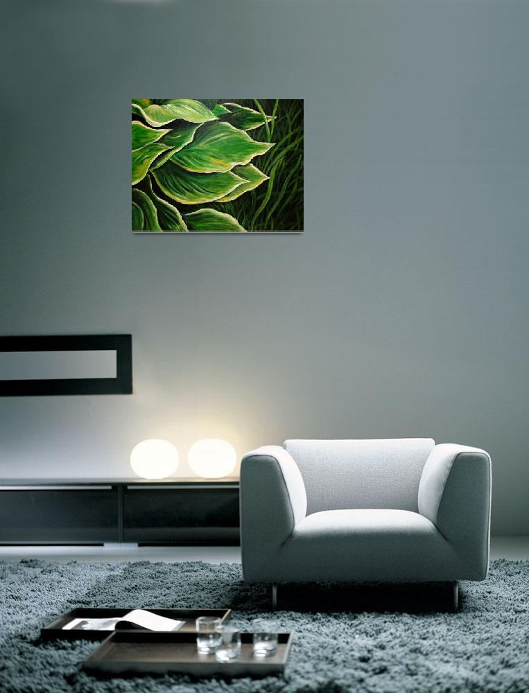 """Hosta Leaves and Grass&quot  (2011) by nsmartist"