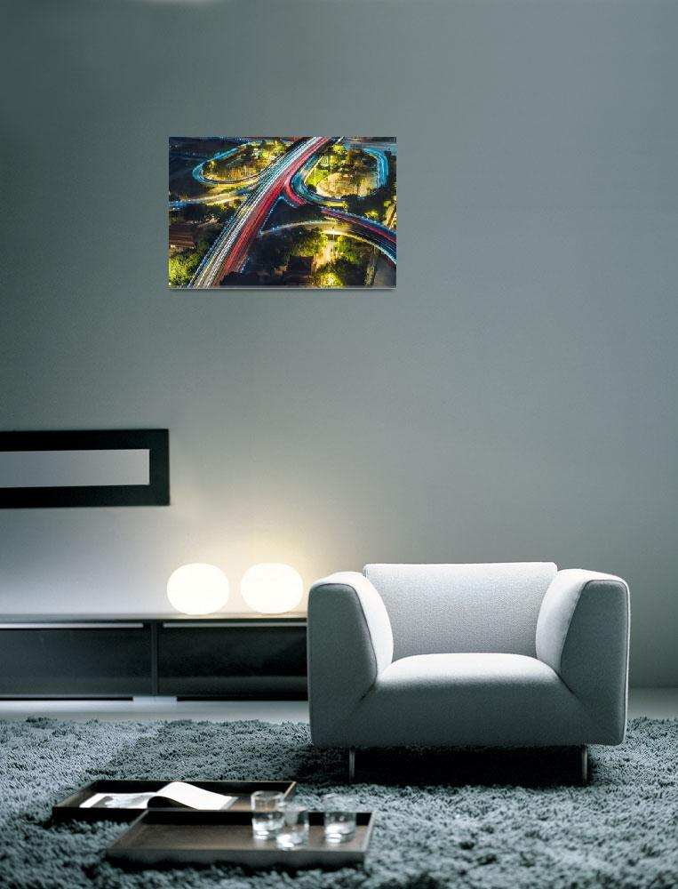 """Night City Traffic Framed Photo Print&quot  by buddakats1"