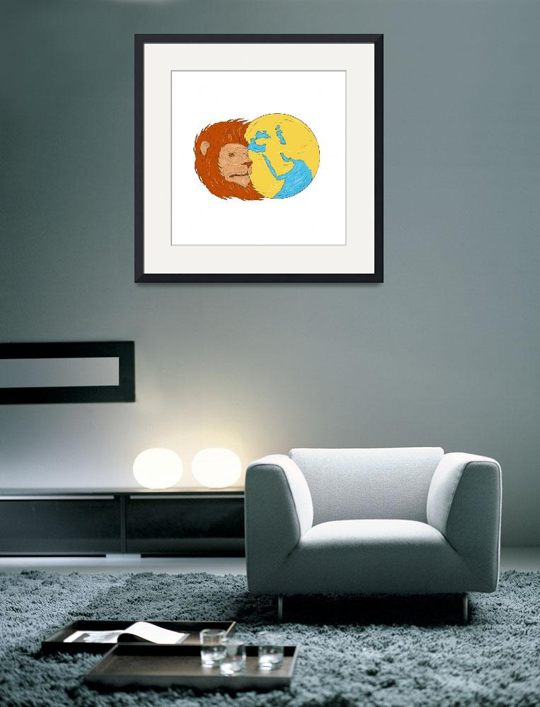 """Lion Head Middle East Asia Map Globe Drawing""  (2017) by patrimonio"