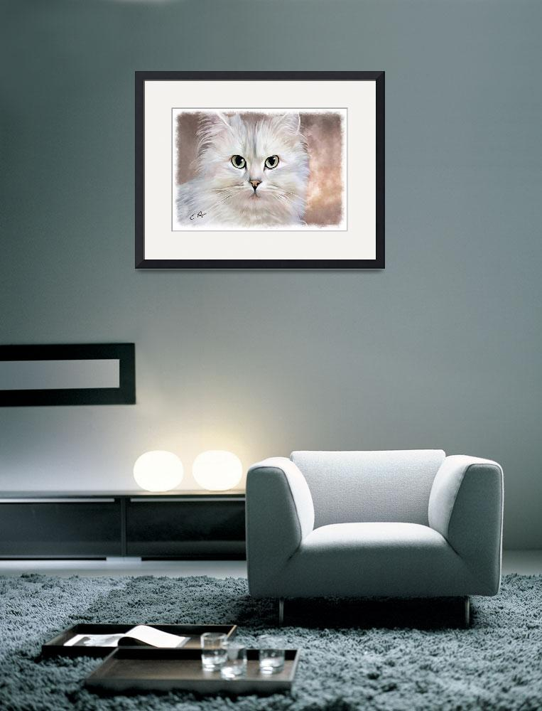 """White Persian Cat&quot  (2010) by ellenspaintings"