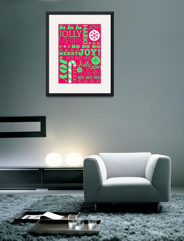 """""""falala holiday card typeography neon green pink-01""""  by dancacioppo"""