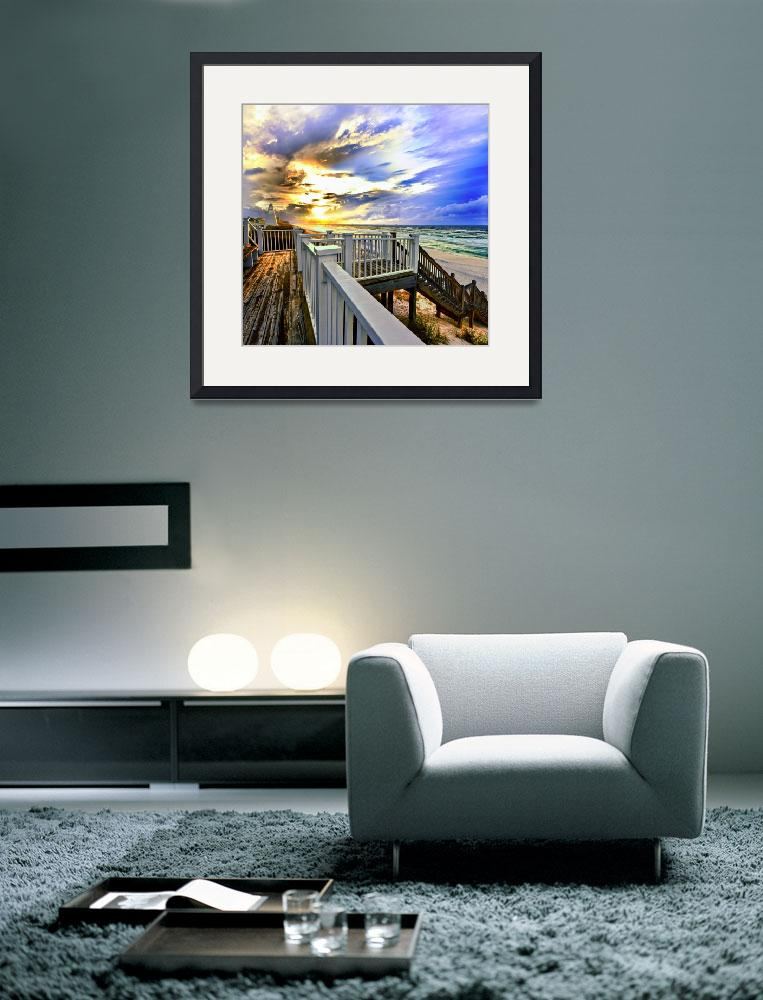 """""""White Staircase before Beach with Blue Gold Sunset""""  (2011) by eszra"""