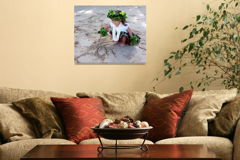 """""""Hula girl playing in the sand""""  (2007) by elayne"""